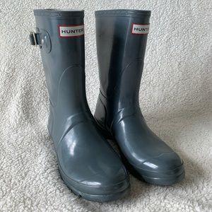 Hunter Original Short Gloss Boot Gray